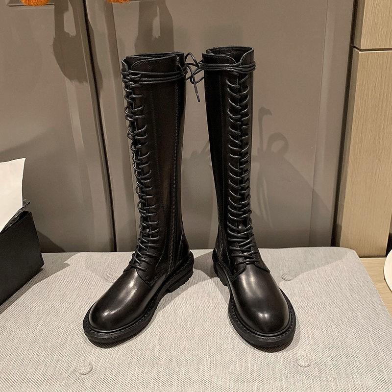 中筒靴機車靴】☂ann長靴女系帶秋冬季新款真皮顯瘦馬丁靴中筒靴高筒騎士靴女靴子