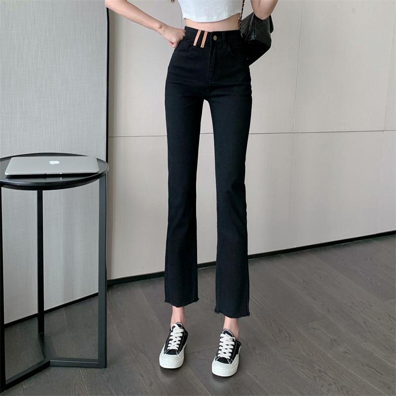IELGY 2021年夏季新款韓版時尚設計感百搭顯瘦高腰直筒寬松黑色休閑褲