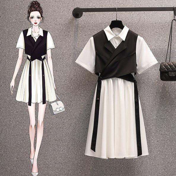 洋裝 襯衫裙 兩件套L-4XL中大尺碼洋氣顯瘦遮肚子中長款連衣裙4F082.8882胖胖美依