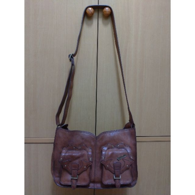 Anna Sui 正貨 復古 咖啡色 真皮 皮包 側背包 肩背包 單肩包 斜背包 兩用包 7成新