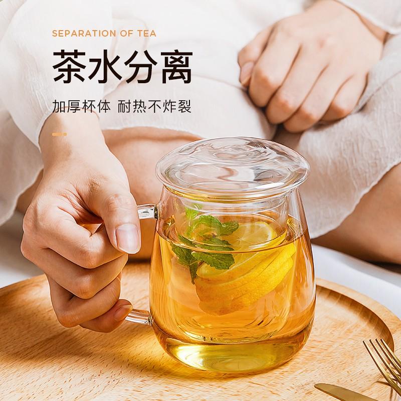 【熱銷+現貨】物生物過濾玻璃杯家用茶水分離泡茶杯網紅女透明帶把花茶水杯子