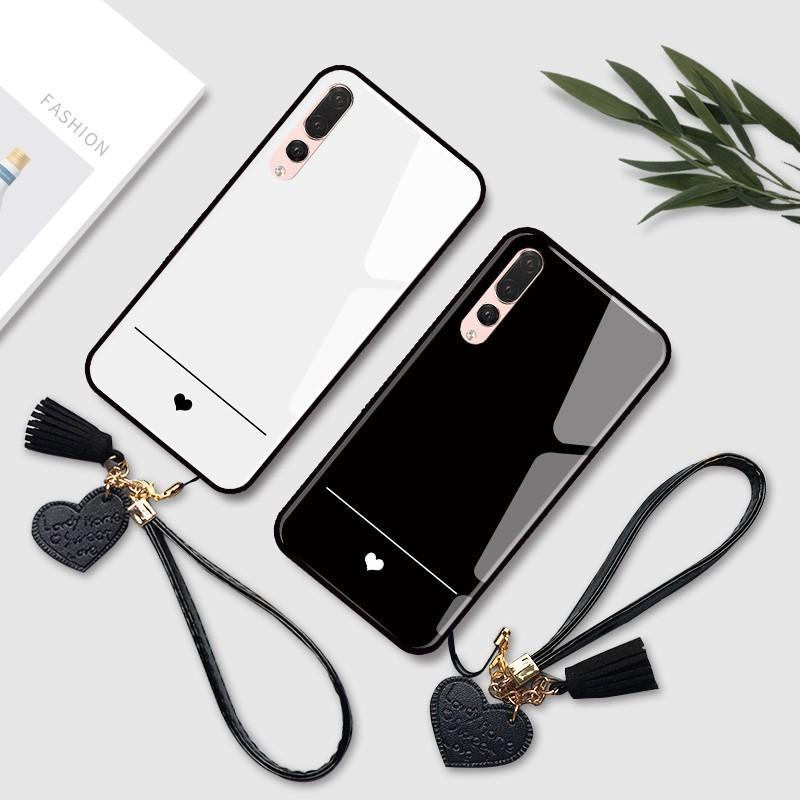 華為Y9 2019手機殼 mate20玻璃防摔殼 mate20x手機保護殼簡約愛心mate9保護套軟邊mate10手機殼