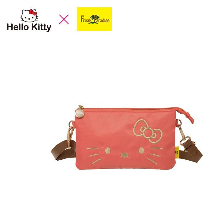 Hello Kitty x Freak Paradise 經典凱蒂-雙層萬用包-粉橘 FPKT0D003CR 側背包