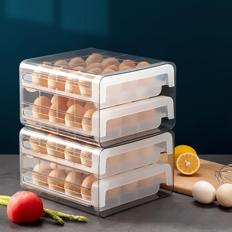 【rttu8】冰箱裝雞蛋專用保鮮盒抽屜式雙層雞蛋格傢用收納盒架子可疊加蛋托