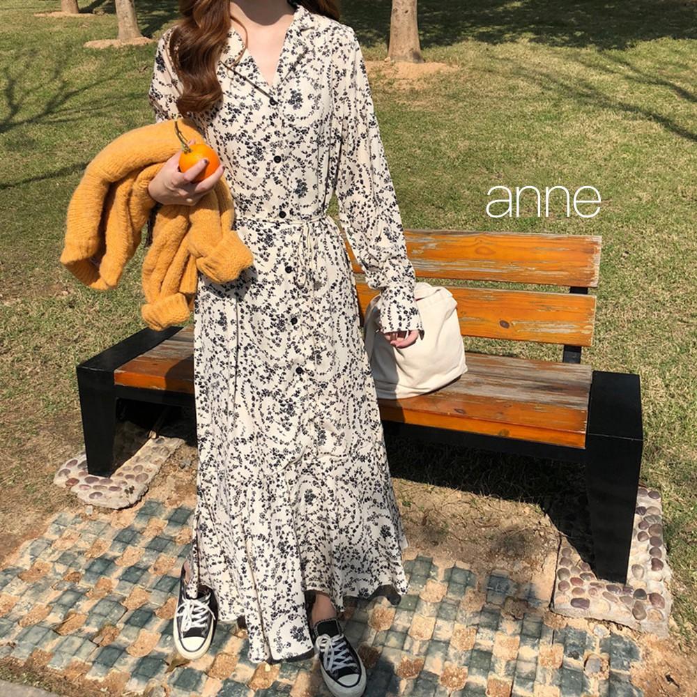 【anne】(2色) 碎花洋裝 連身裙 連衣裙 長袖洋裝 韓版女裝復古氣質V領繫帶寬鬆顯瘦過膝長裙 M5660