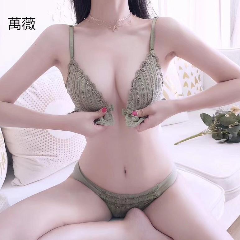 【萬薇】性感薄款前扣三角杯內衣女集中爆乳調整型上托無鋼圈