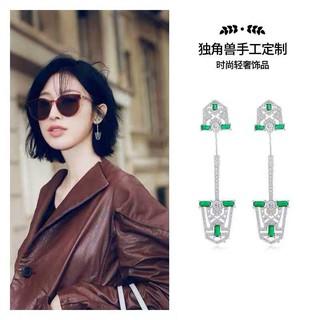 正品 apm MONACO 耳釘 專柜代購開模盾牌耳環 時尚綠寶石單只女飾品禮物個性簡約 S925純銀耳針+白亞金材全新