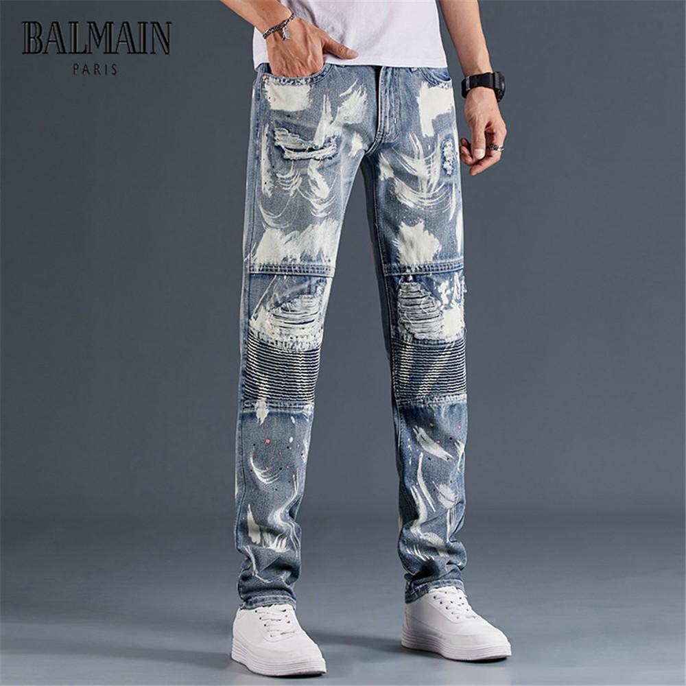 新款巴爾曼褲破洞牛仔褲 BALMAIN破刷牛仔褲 破洞拼接牛仔長褲 男潮個性修身直筒牛仔褲