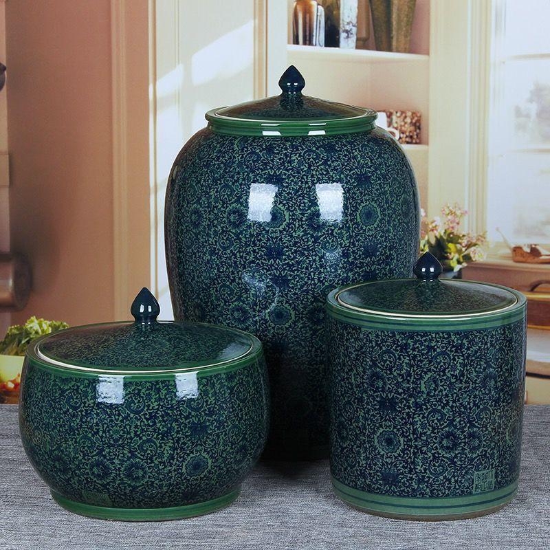 景德鎮陶瓷米甕米缸聚寶盆帶蓋密封儲物罐家用20斤50kg100斤裝廚房防潮