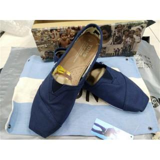 TOMS 夏季經典素色深藍男女鞋 平底帆布鞋 休閒鞋