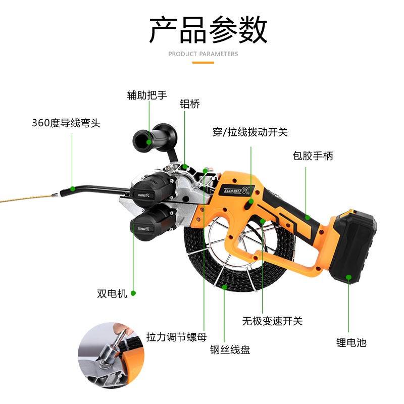 穿線神器電動穿線機鋰電電纜穿線器電工全自動充電暗管拉線引線器