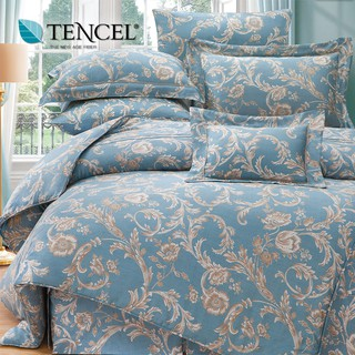 60支100%純天絲TENCEL【雙人 加大 特大組合】規格可選  兩用被床包四件組 七件式鋪棉床罩組 佩納亞藍 台中市