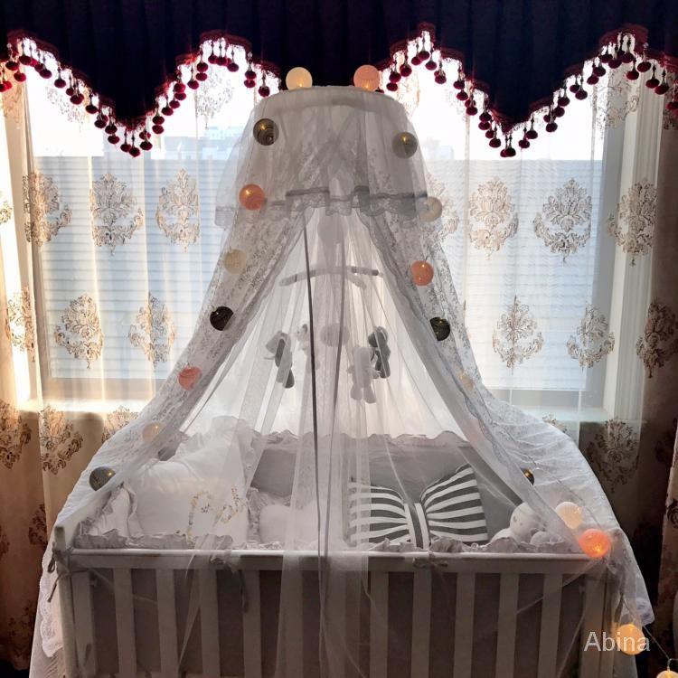 【新品】嬰兒床圓床蚊帳落地款寶寶橢圓床蚊帳支架款兒童床蚊帳BB床小蚊帳