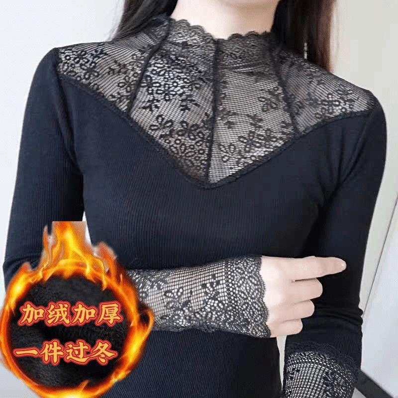 現貨 新款女神二代保暖衣女高領蕾絲網紗花邊加絨修身顯瘦長袖打底衫