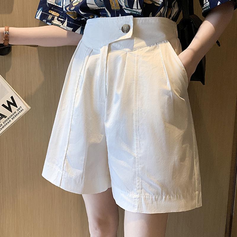 M-4XL大尺碼衣著 200斤胖mm褲子女高腰顯瘦休閒褲大碼寬鬆闊腿短褲薄款西裝五分褲