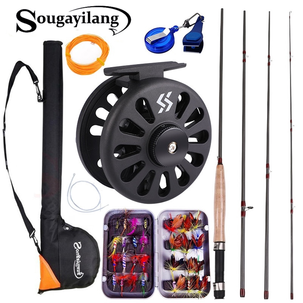 Sougayialng 2.7M/8.86FT #5/6 飛蠅竿包組合套裝 帶釣魚包線配件組合 飛釣魚竿超輕 便攜式漁具
