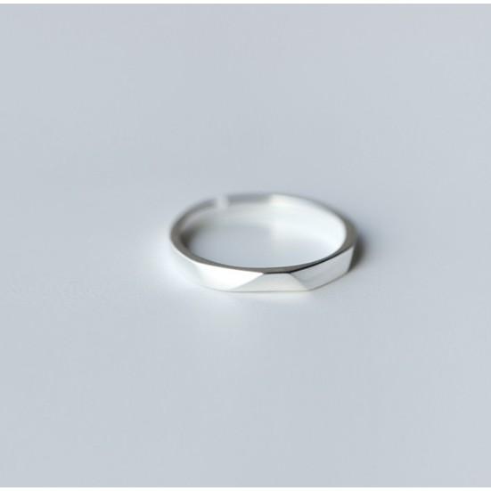✨Queen✨ 銀戒 切面戒指 開口 戒指 食指戒 珠寶銀樓 抗過敏 925純銀 男款 情侶對戒 情侶戒指 J23