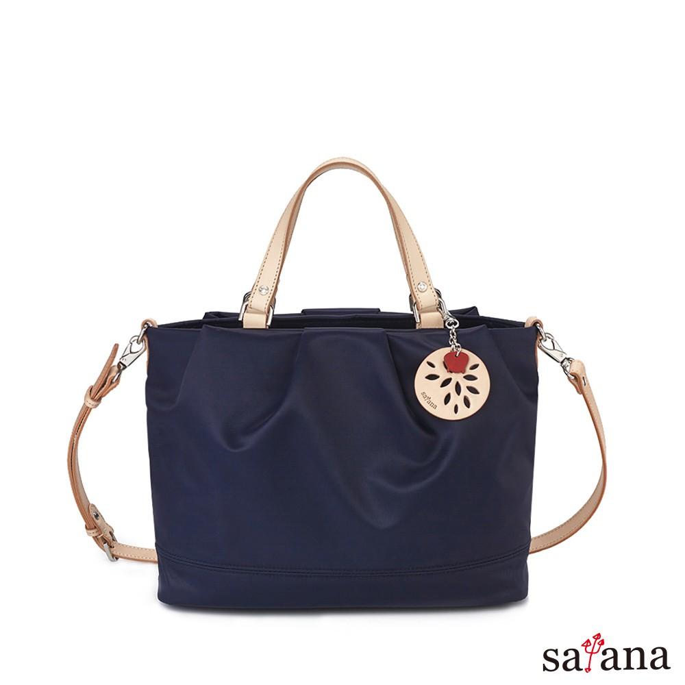 satana 美好經典多隔層手提肩背包/側背包/斜背包-墨藍色