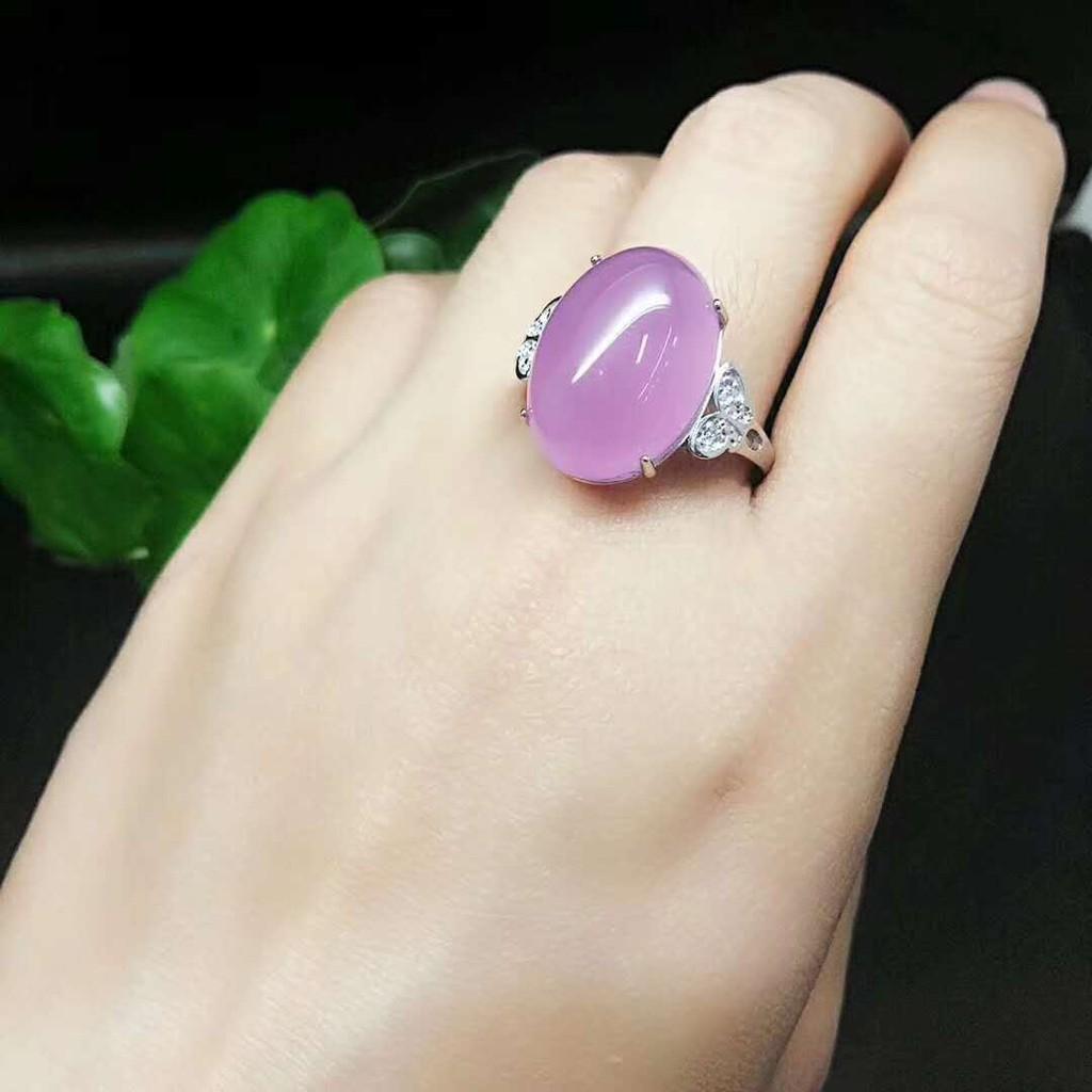 天然冰玉髓戒指 冰種瑪瑙 自由调节口徑 925銀镶嵌綠粉紅玉髓 女士指環