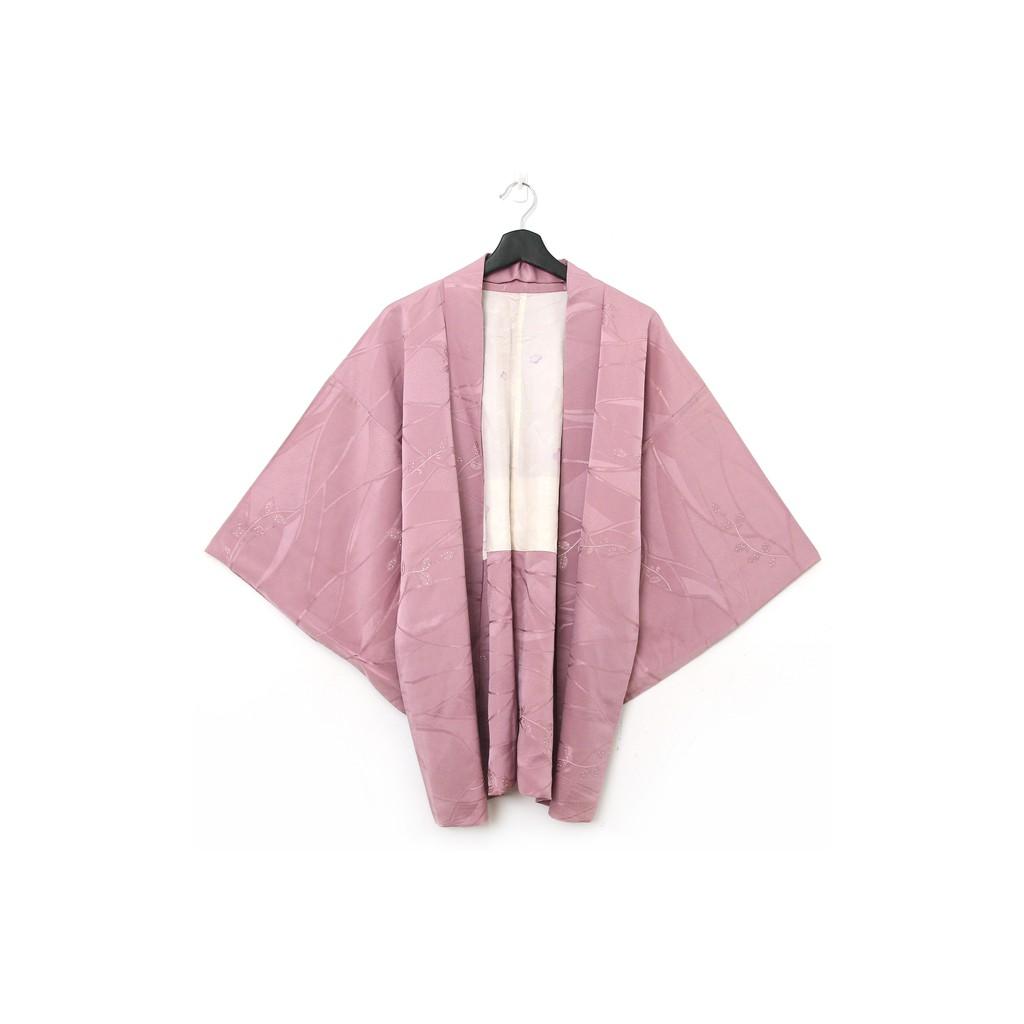 Back to Green-日本帶回羽織 杏粉枝葉 vintage kimono