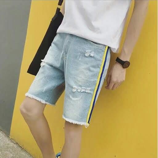 原宿風織帶條紋破洞牛仔短褲-特價出清