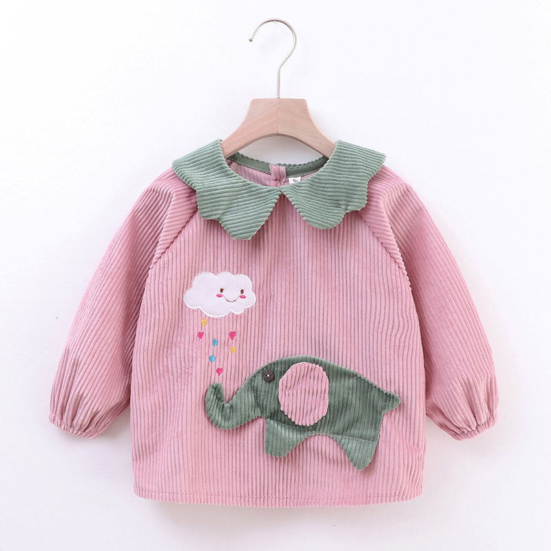 ★特惠新品寶寶罩衣防水兒童秋冬男女孩反穿衣圍兜吃飯衣水晶絨嬰兒圍裙