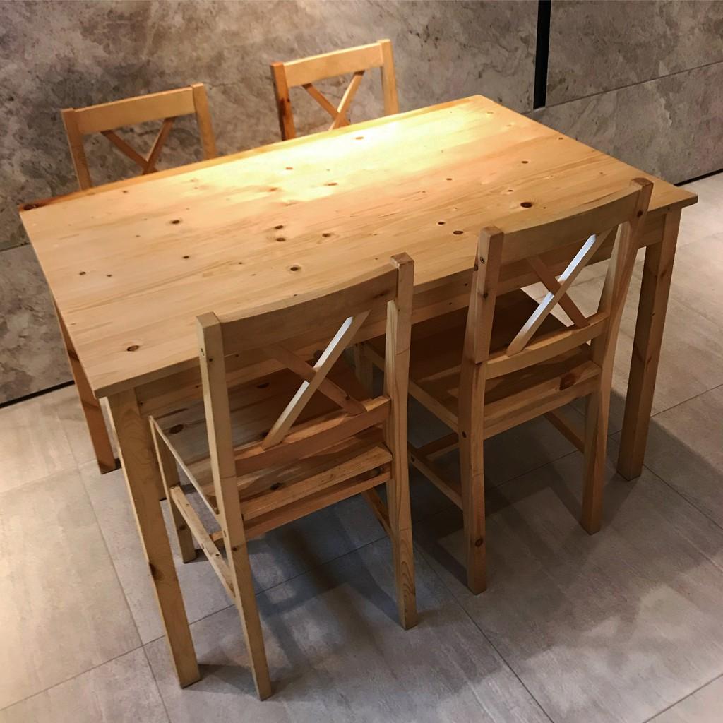 絕版款/北歐工業LOFT經典IKEA宜家實木餐桌附4張實木餐椅/餐桌椅組/松木色/實木經久耐用/二手九成新/特$3800