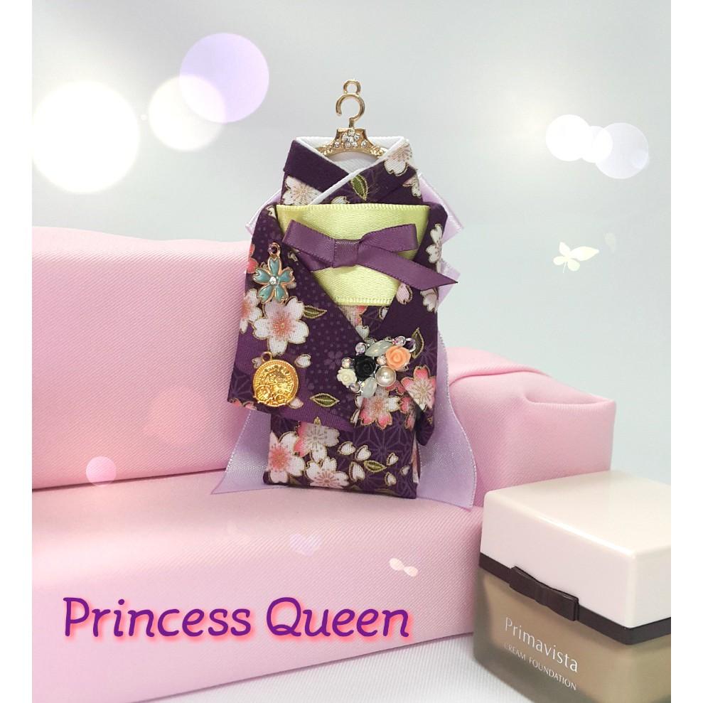 超低價~紫底粉色櫻花亮鑽花飾立體和服鑰匙圈