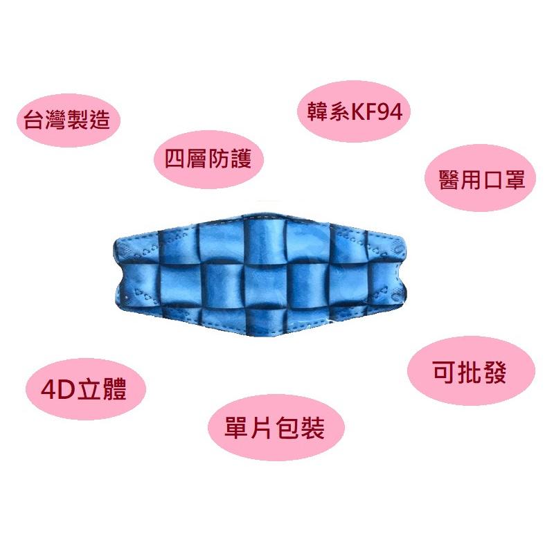 【台灣製造】琪睿 KF94立體魚嘴醫療醫用口罩 單片包裝 滿100片送3片 四層防護緊密貼合過濾粉塵不易沾粉脫妝