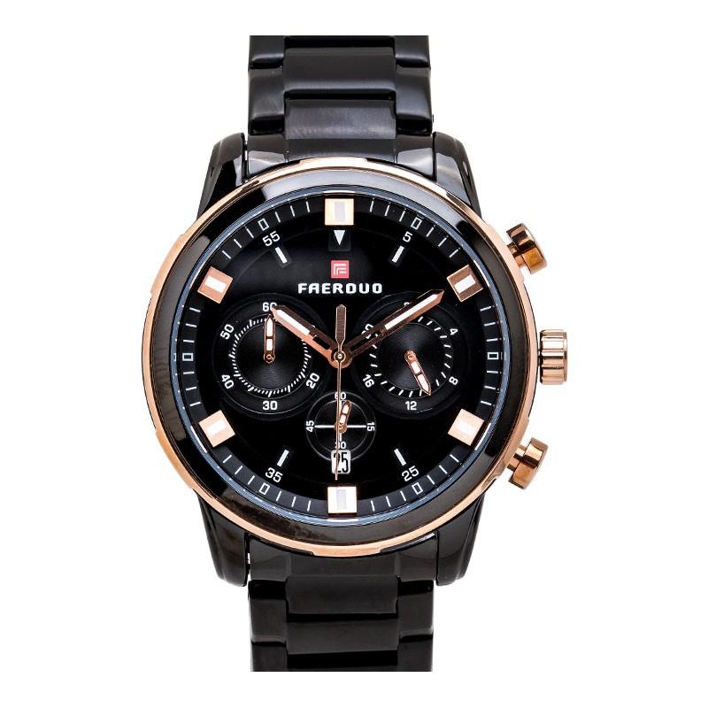 FAERDUO急速領域真三眼日期顯示黑面金屬鍊帶手錶【WFA8266】璀璨之星