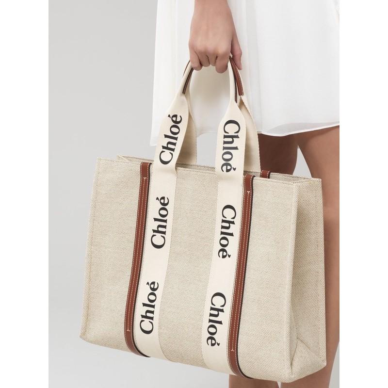 (保留中)🤎電商購入保證正品 Chloe Woody tote large 棕色大款帆布包托特包 只有一個!全新!