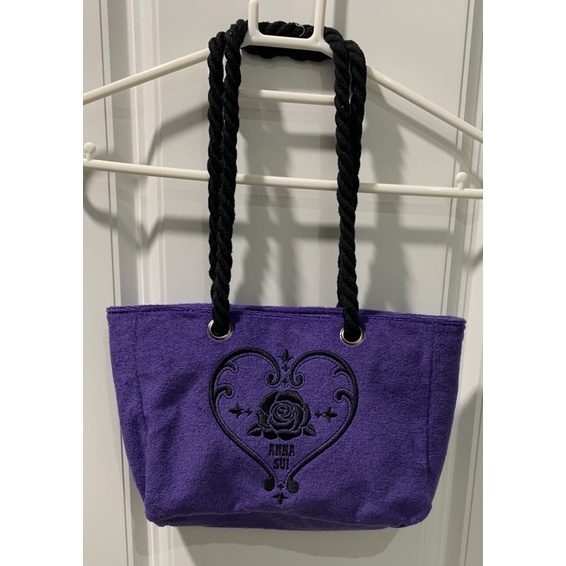 ANNA SUI安娜蘇品牌經典紫色類似毛巾布托特包可手提也可肩背兩用布包