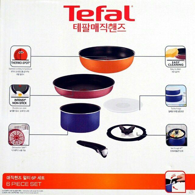 [CampGo]~露營 便攜式~【Tefal】法國製Tefal特福巧變精專利可拆卸把手靈鍋具6件組