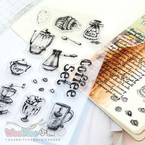 ☆WOOHOO小舖☆【PS297】《矽膠印章-coffee set》透明印章/研磨咖啡豆星巴克咖啡杯點心蛋糕
