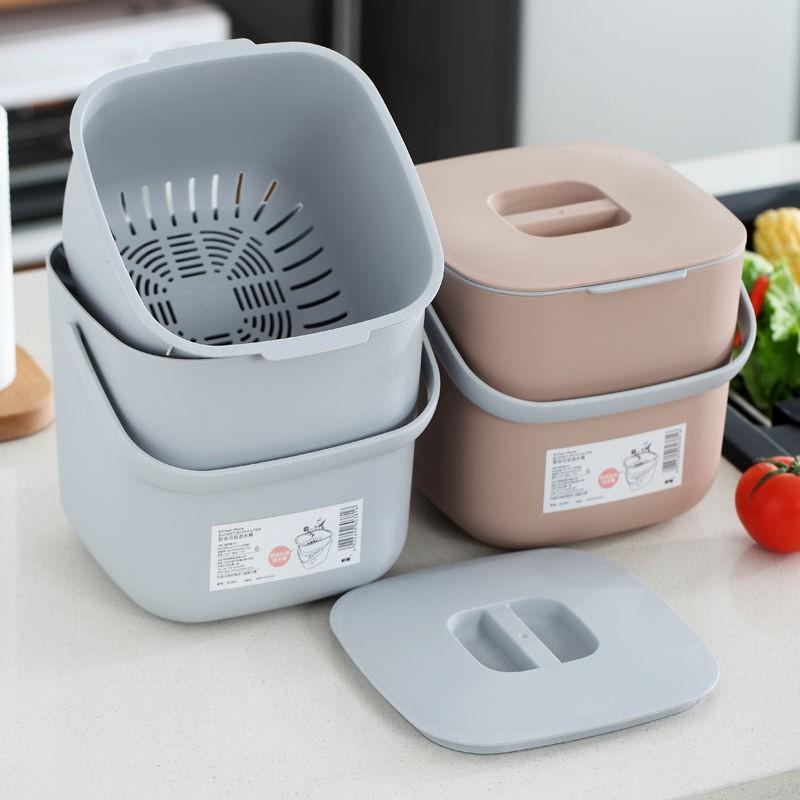 廚餘機 廚余垃圾桶家用帶蓋桌面干濕分類餐廚防臭北歐創意廚房瀝水垃圾筒