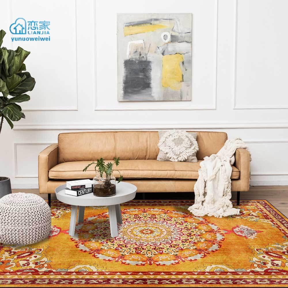 【戀家一慢生活家居】時尚復古輕奢金黃色花卉民族風客廳臥室床邊地毯地墊定製