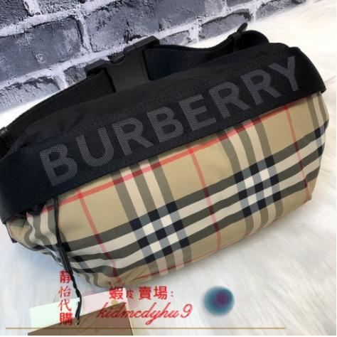 靜怡二手精品BURBERRY 中型 Vintage 格紋 ECONYL® 腰包 80265571