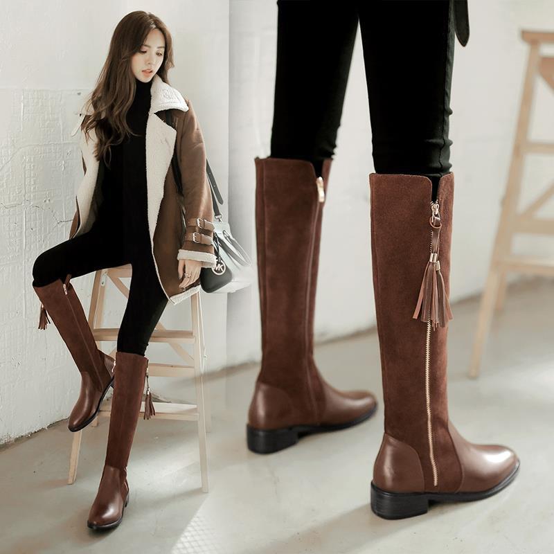 &特價優惠&圣洛朗高筒膝下靴平底冬真皮中長騎士靴單靴平跟長靴子女鞋潮鞋女