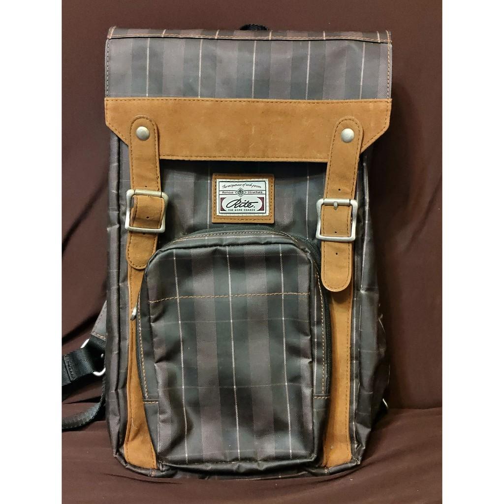 RITE後背包 多功能後背包 多種背法後背包 兩用後背包雙生包可拆小包復古格子咖