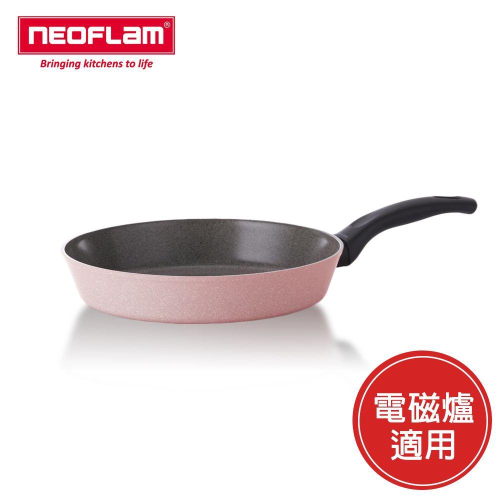 【NEOFLAM】Reverse彩色大理石系列28cm平底鍋-粉紅色(適用電磁爐) 加碼贈不沾鍋專用鏟