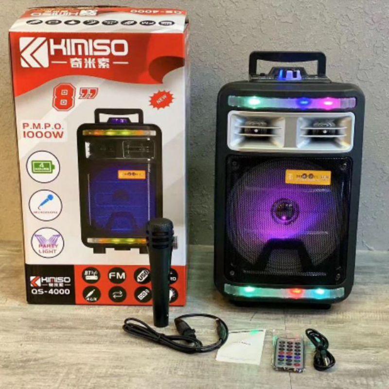 免運 Kimiso QS4000 8吋手提藍芽喇叭附麥克風 行動卡拉OK