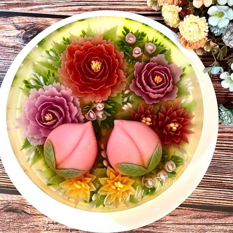 C.F手作 –『壽桃花園』6吋、8吋立體3D果凍花蛋糕.甜點·素食
