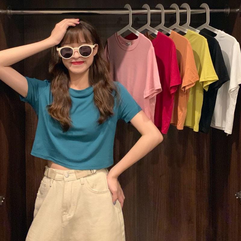 素色上衣 素t 短版上衣 休閒T恤 女生上衣 韓版圓領百搭短袖T恤女高腰顯瘦打底上衣潮