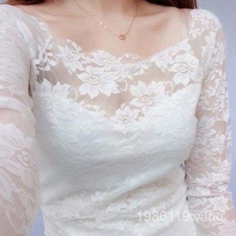 女裝肩蕾絲小衫韓版透明上衣鏤空春秋打底衫一字性感蕾絲長袖