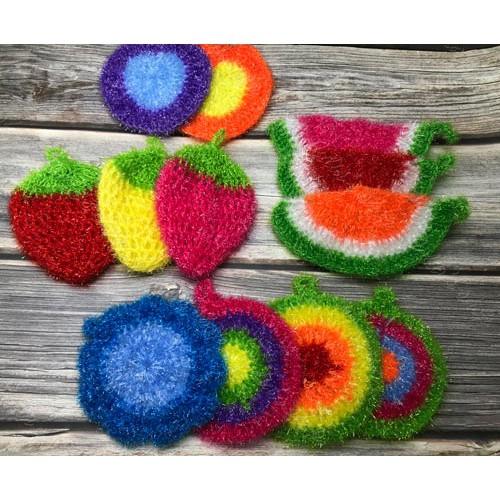 *Ju寶庫* 韓國熱銷創意不沾油 花朵造型 造型菜瓜布 草莓菜瓜布 不沾油洗碗布 洗碗巾 菜瓜布