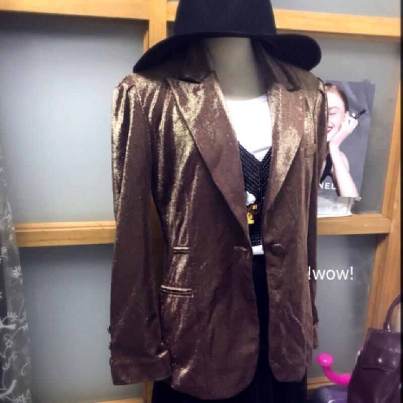 角落現貨🌼 美國製🌼 原價近三萬 正品 ANNA SUI 浮誇 玫瑰金 金蔥 公主袖 西裝外套 個性 正式 派對