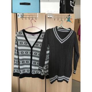 二手 雪花造型V領排扣針織罩衫 重磅V領拼色貼身針織毛衣 桃園市