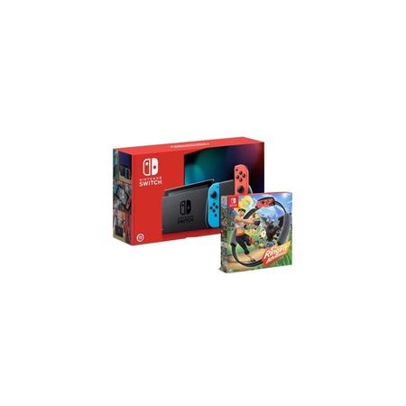 Switch紅藍主機《電力加強版》 +健身環大冒險內容包含(遊戲片x1,綁腿x1,健身環x1)