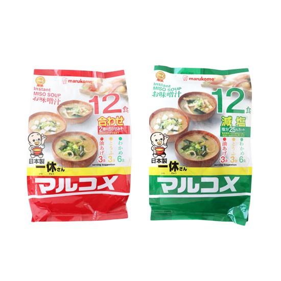 日本 Marukome 一休 料亭之味 元氣味噌湯 (12包) 味噌湯 減鹽味噌湯