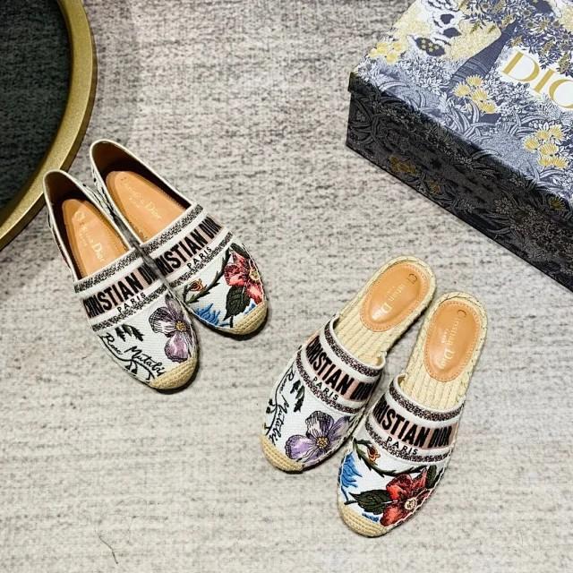 Dior 迪奧2021新款漁夫鞋刺繡系列拖鞋單鞋 漁夫鞋樂福鞋 半拖 漁夫半拖鞋